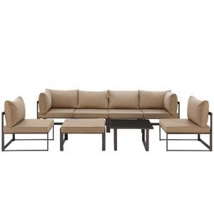 8 Piece Outdoor Patio Aluminum Sectional Sofa Set in Brown Mocha