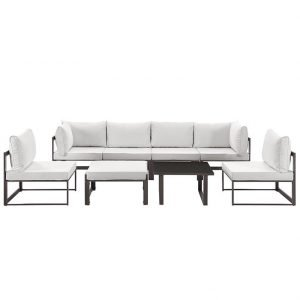 8 Piece Outdoor Patio Aluminum Sectional Sofa Set in Brown White