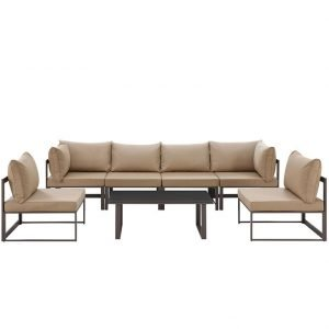 7 Piece Outdoor Patio Aluminum Sectional Sofa Set in Brown Mocha