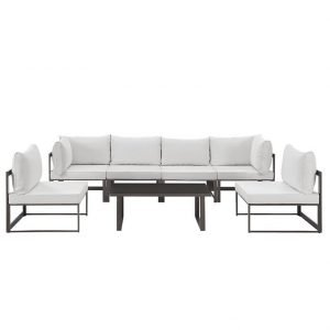 7 Piece Outdoor Patio Aluminum Sectional Sofa Set in Brown White