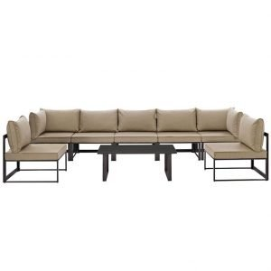 8 Piece Outdoor Patio Sectional Sofa Set in Brown Mocha