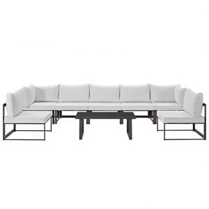 8 Piece Outdoor Patio Sectional Sofa Set in Brown White