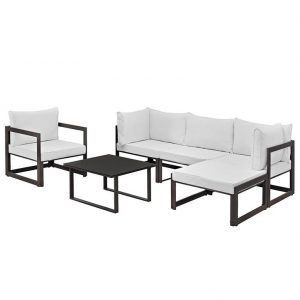 6 Piece outdoor patio Aluminum Sectional in Brown White