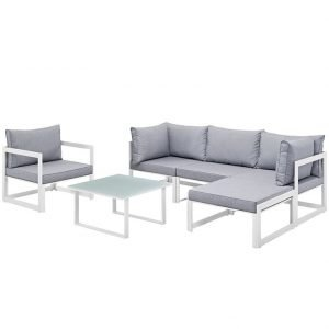6 Piece outdoor patio Aluminum Sectional in White Gray