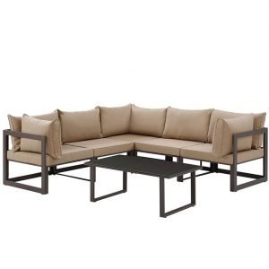 6 Piece Outdoor Patio Aluminum Sectional Sofa Set in Brown Mocha