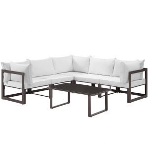 6 Piece Outdoor Patio Aluminum Sectional Sofa Set in Brown White