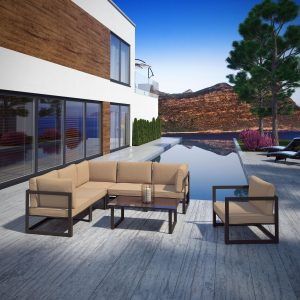 7 Piece Outdoor Patio Sectional Sofa Set in Brown Mocha EEI-1733
