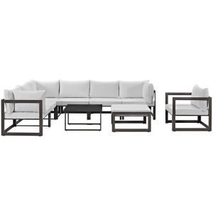 9 Piece Outdoor Patio Aluminum Sectional Set in Brown White