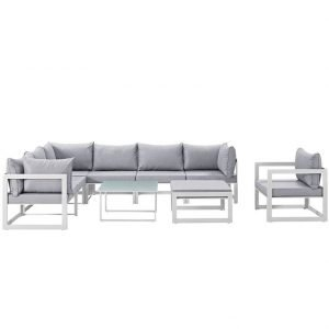 9 Piece Outdoor Patio Aluminum Sectional Set in White Gray