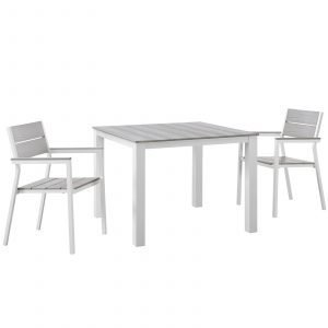3 Piece Aluminum Dining Set in White