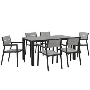 7 Piece Outdoor Patio Dining Set in Brown Gray EEI-1749
