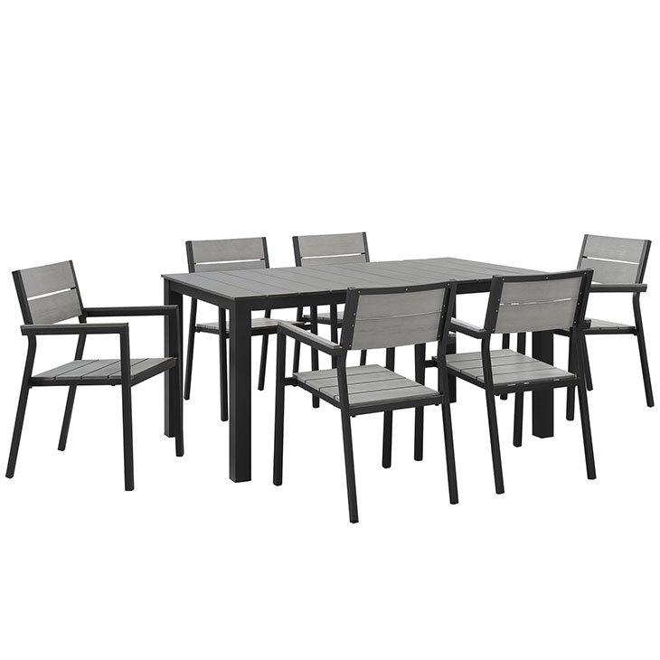 7 Piece Outdoor Patio Dining Set in Brown Gray EEI-1749