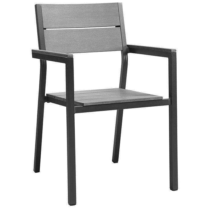 Outdoor Patio Dining Chair in Brown Gray EEI-1749