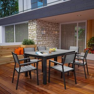 7 Piece Outdoor Patio Dining in Brown Gray EEI-1749