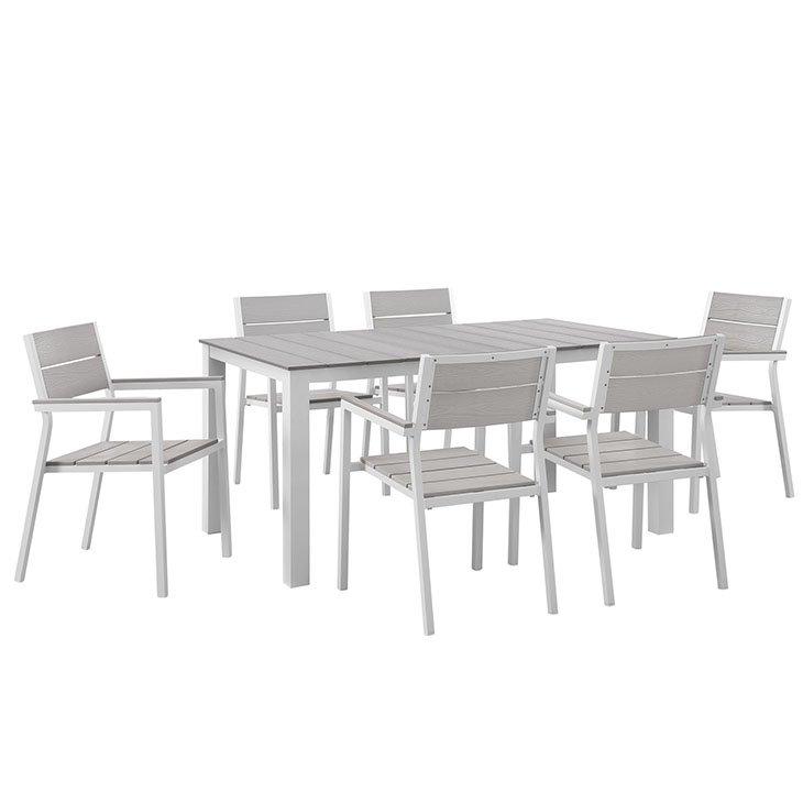7 Piece Outdoor Patio Dining Set in White Light Gray EEI-1749