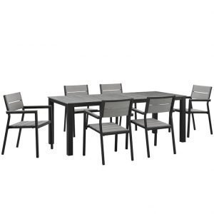 7 PIECE OUTDOOR PATIO ALUMINUM DINING SET IN BROWN GRAY