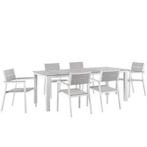 7 PIECE OUTDOOR PATIO ALUMINUM DINING SET IN WHITE LIGHT GRAY EEI-1751