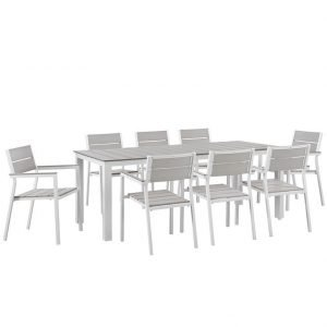 9 Piece Outdoor Patio Dining Set in White Light Gray EEI-1753