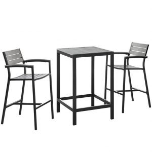 3 Piece Outdoor Patio Dining Set in Brown Gray EEI-1754