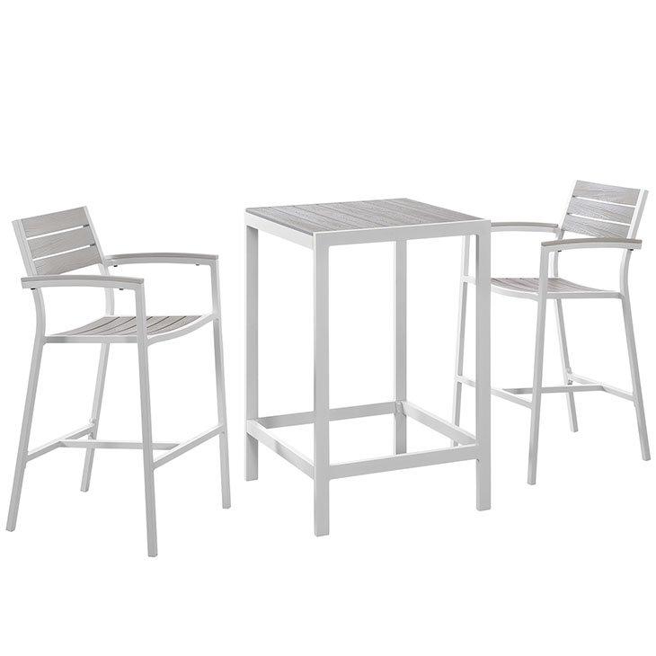 3 Piece Outdoor Patio Dining Set in White Light Gray EEI-1754
