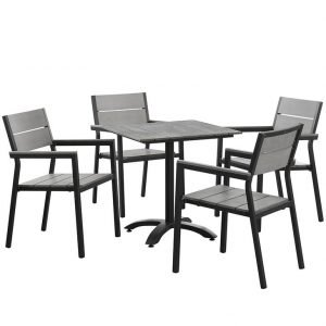 5 piece aluminum patio dining set brown