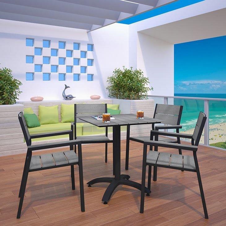 5 piece aluminum patio dining set brown and gray