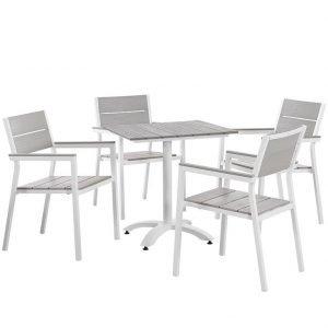 5 piece aluminum dining set white