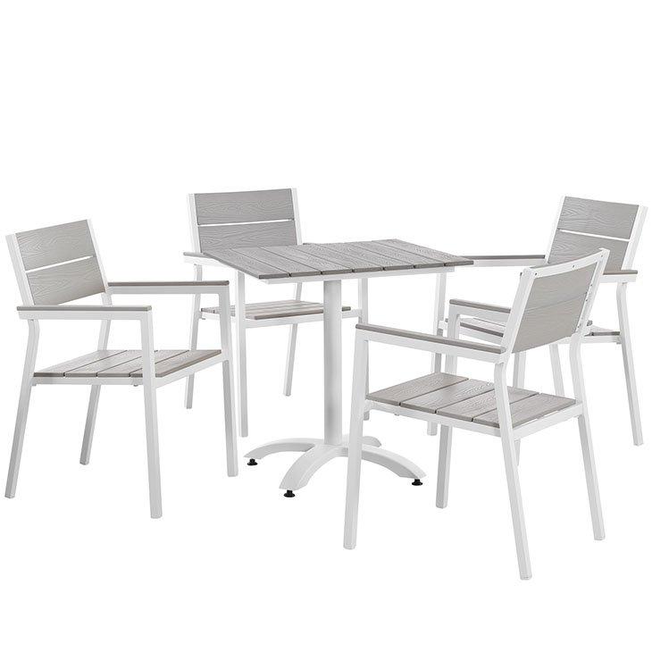 5 piece aluminum dining set white EEI-1761