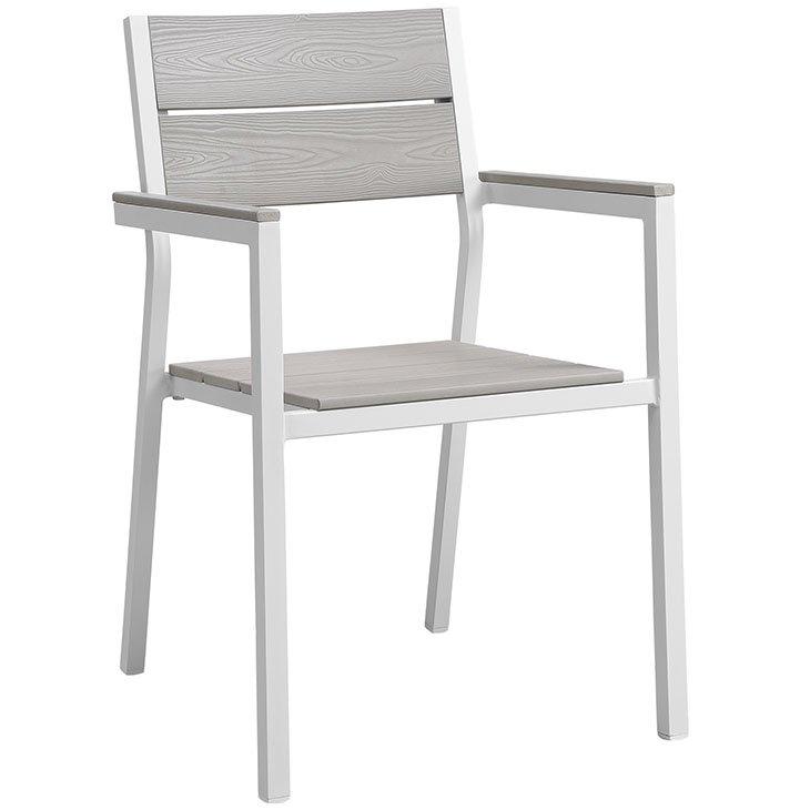 5 piece aluminum patio dining set chair white