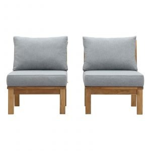 Teak Armless Chair Set in Gray