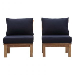Teak Armless Chair Set in Navy