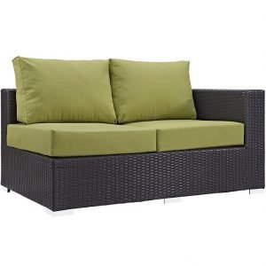 Outdoor Patio Right Arm Loveseat in Espresso Peridot