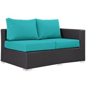 Outdoor Patio Right Arm Loveseat in Espresso Turquoise