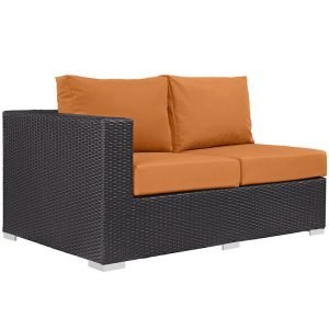 Outdoor Patio Left Arm Loveseat in Espresso Orange