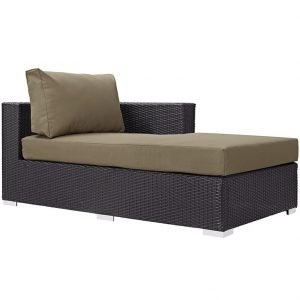 Outdoor Patio Fabric Right Arm Chaise in Espresso Mocha EEI-1843