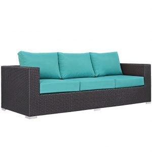 Outdoor Patio Sofa in Espresso Turquoise EEI-1844