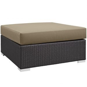Outdoor Patio Large Square Ottoman in Espresso Mocha