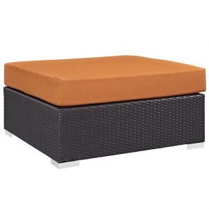 Outdoor Patio Large Square Ottoman in Espresso Orange