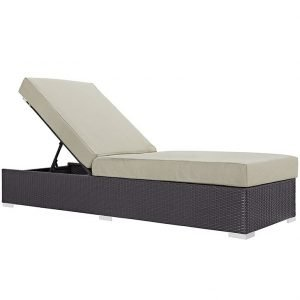 Outdoor Patio Chaise Lounge in Espresso Beige EEI-1846