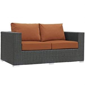 Rattan Love Seat Orange Cushions