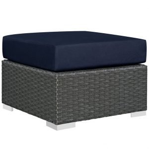 Outdoor Patio Sunbrella® Ottoman in Canvas Navy EEI-1855