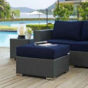 Outdoor Patio Sunbrella® Ottoman Canvas Navy EEI-1855