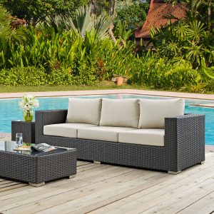 Outdoor Patio Sunbrella® Sofa in Canvas Antique Beige EEI-1860