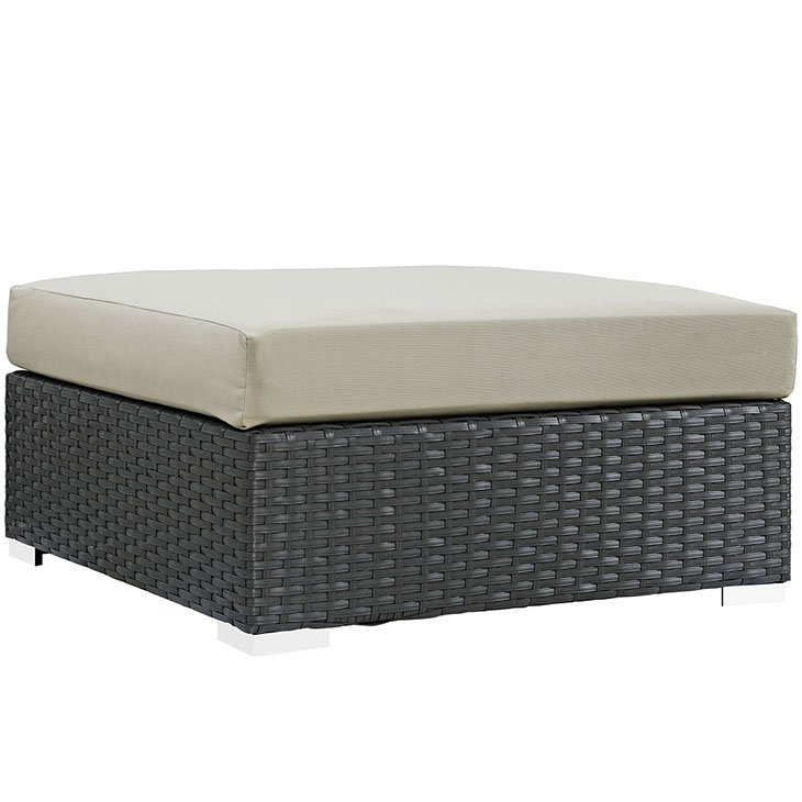 Outdoor Patio Sunbrella® Square Ottoman in Canvas Antique Beige EEI-1861