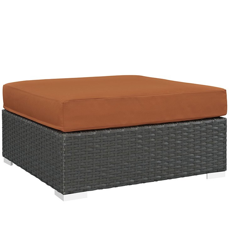 Outdoor Patio Sunbrella® Square Ottoman in Canvas Tuscan EEI-1861