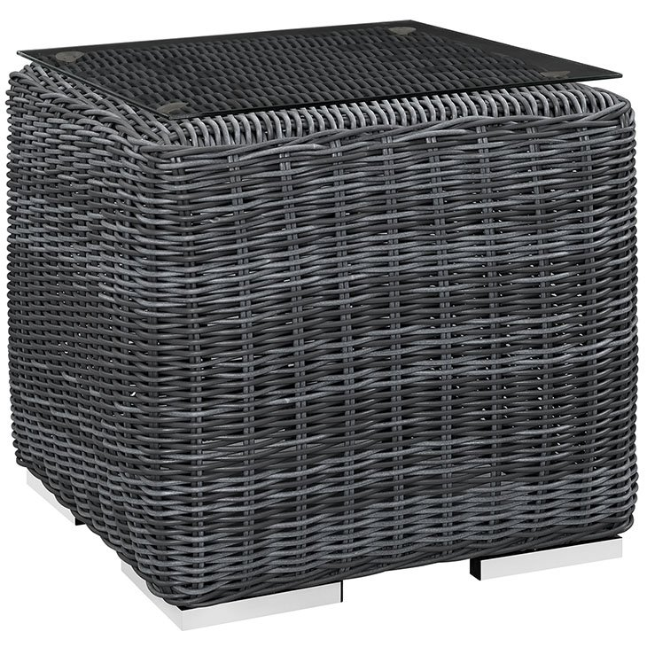OUTDOOR PATIO WICKER RATTAN GLASS TOP SIDE TABLE IN GRAY