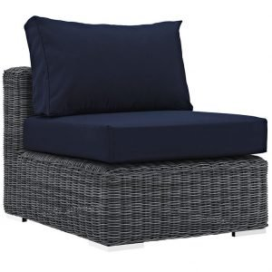 Rattan armless patio chair navy