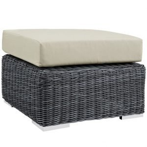 OUTDOOR PATIO SUNBRELLA® OTTOMAN IN CANVAS ANTIQUE BEIGE