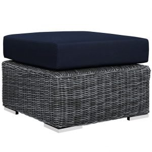 OUTDOOR PATIO SUNBRELLA® OTTOMAN IN CANVAS NAVY