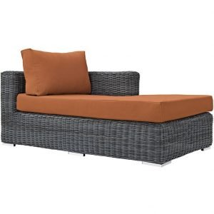 Outdoor Patio Sunbrella® Right Arm Chaise in Canvas Tuscan EEI-1873